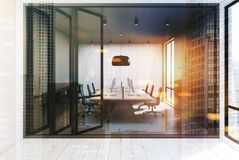 Open space office, gray and wooden walls, toned Stock Photo