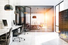 Open space office, lockers, white walls toned Stock Photo