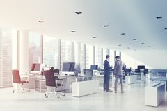 White ceiling open space office, side toned Royalty Free Stock Photo