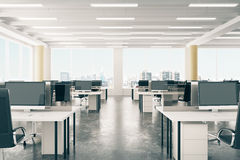Open space office in loft style hangar with windows in floor and Royalty Free Stock Image