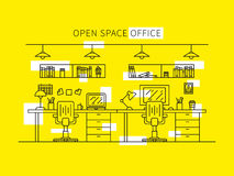 Open space office vector illustration. Professional working place creative concept. Minimal office space graphic design Stock Photos