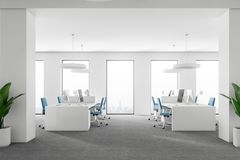 Side view of white loft office interior Stock Illustration