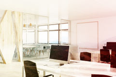 Open space office with a wooden wall, corner toned Stock Images