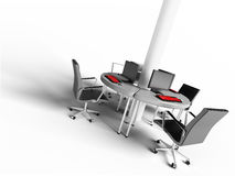 Open space work. A concept of a office open space in 3d Stock Photos