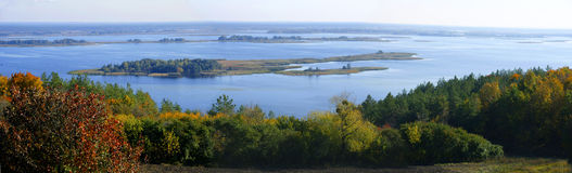 Open spaces of Dnepr. In the autumn in vicinities of Kiev. Around village Hotyn royalty free stock image