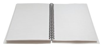 Open Spiral Bound Notebook, at. Two blank pages in a spiral bound notebook, with clipping path Stock Photography