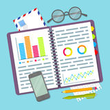 Open spiral notebook with business plan data. Royalty Free Stock Photo