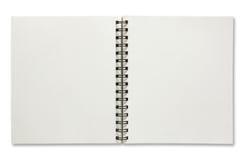 Open spiral notebook stock photos