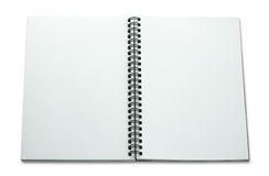Open spiral notebook isolated on white Stock Images