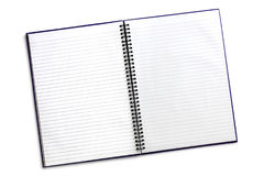 Open Spiral Notebook with Path Isolated. Open blank spiral notebook with clipping path, isolated on white. Two page stock images