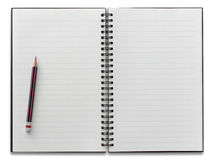 Open spiral notebook and pencil isolated Royalty Free Stock Image