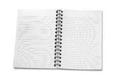 Open spiral notebook on white background Stock Photo