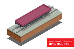 Open spoorauto voor vervoer van bulkladingen Spoor behandelde wagen Vector isometrische behandelde illustratie van spoor Stock Afbeelding