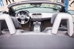 Open sports car interior stock photography