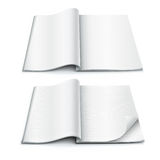 Open spread of book with blank white pages  illustration Royalty Free Stock Image