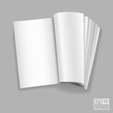Open spread of book with blank white pages  illustration Stock Photo