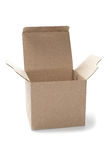 Open square cardboard box on isolated white background stock images