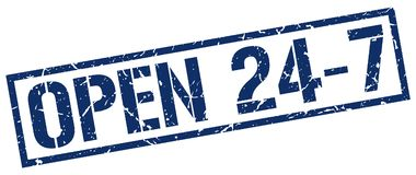 Open 24 7 stamp. Open 24 7 square grunge sign isolated on white.  open 24 7 Stock Photo