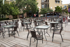 Open square tables and chairs, Royalty Free Stock Image