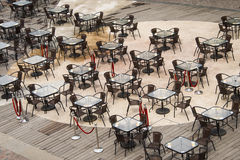 Open square tables and chairs, Stock Photo