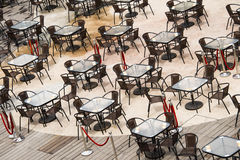 Open square tables and chairs, Stock Photos