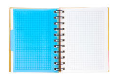 Open squared notebook with colored tabs Royalty Free Stock Images
