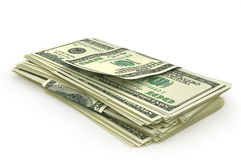 Open stack of US Dollars. 3d illustration Royalty Free Stock Images