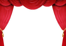 Open Stage Theatre. Red curtain of a classical theater Stock Image