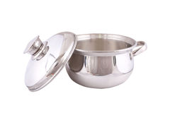 Open stainless steel cooking pot Royalty Free Stock Photo