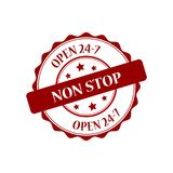 Open 24-7 stamp illustration. Non stop red stamp seal illustration design Royalty Free Stock Photos
