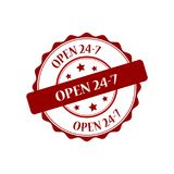 Open 24-7 stamp illustration. Non stop red stamp seal illustration design Stock Photo