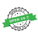 Open 24-7 stamp illustration. Non stop stamp seal illustration design Stock Photography