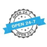 Open 24-7 stamp illustration. Open 24-7  stamp seal illustration design Royalty Free Stock Images