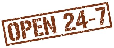 Open 24 7 stamp. Open 24 7 square grunge sign isolated on white.  open 24 7 Royalty Free Stock Photos
