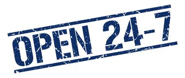 Open 24 7 stamp. Open 24 7 square grunge sign isolated on white.  open 24 7 Royalty Free Stock Photography