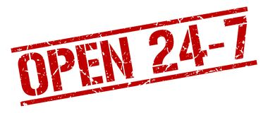 Open 24 7 stamp. Open 24 7 square grunge sign isolated on white.  open 24 7 Stock Image