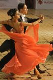 Open Standard Dance Contest Orange Gown Royalty Free Stock Image