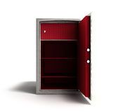 Open steel bank safe 3d render on white Royalty Free Stock Photo