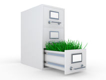 Open steel office box with grass Royalty Free Stock Images