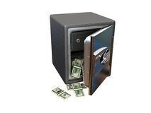 Open steel safe with money Stock Image