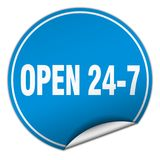 Open 24 7 sticker. Open 24 7 round sticker isolated on wite background. open 24 7 Royalty Free Stock Images