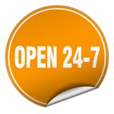 Open 24 7 sticker. Open 24 7 round sticker isolated on wite background. open 24 7 Royalty Free Stock Photo