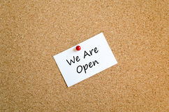We are open sticky note text concept Stock Photography