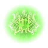 Open stiliserade lotusblommablomman dekorativ rund sammansättning vektor Royaltyfri Illustrationer