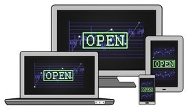 Open stock market concept on different devices. Open stock market concept shown on different information technology devices Stock Photography