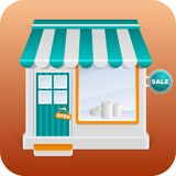 Open store. Icon of the facade of a shop store or cafe Royalty Free Stock Photos