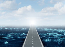 Open Strategy. Business concept as an overseas highway direct bridge path to success and opportunity as a pathway over an ocean and through the sky as a global Royalty Free Stock Photo