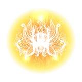 Open a stylisé la fleur de lotus composition ronde décorative Vecteur Image stock