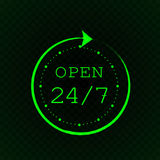 Open 24 7 and stylized clock, green neon light. On dark green and black checkered background Stock Photo