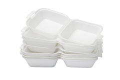 Open Styrofoam Boxes. Stack of Open Styrofoam Boxes on White Background royalty free stock photography